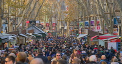 BARCELONA, SPAIN: La Rambla is a crowded street in central Barcelona Stock Footage