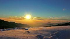 4K Winter sunset alps landscape at high altitude. UHD steadycam stock video Stock Footage