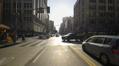 Driving Plates Multi Angle LA Downtown 03 CAM2 Rear Broadway North 60fps Stock Footage