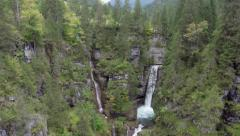 AERIAL Waterfall In A Green Valley Stock Footage
