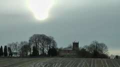 Old church winter sky Stock Footage