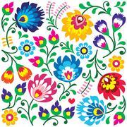 Floral Polish folk art pattern in square - Wzory Lowickie, Wycinanki - stock illustration