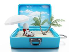 3d white people in a travel suitcase. beach vacation - stock illustration