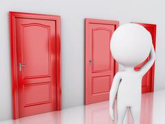 3d white people and three doors, doubtful. Choice concept - stock illustration