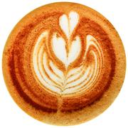 Latte art coffee isolated in white background - stock photo