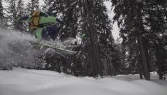 SLOWMOTION FProfessional Skier Powder Jump Stock Footage