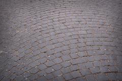 Circular radiating brick walkway in a park Stock Photos