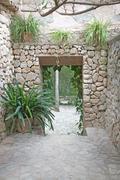 Drystone outdoor room - stock photo