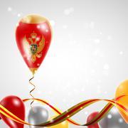 Flag of Montenegro on balloon Stock Illustration