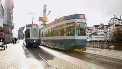 The famous Tram in the Old Town of Zurich in Switzerland, Europe Stock Footage