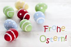 Many Colorful Easter Eggs With German Text Frohe Ostern Means Happy Easter Stock Photos