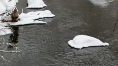 river with snow - stock footage