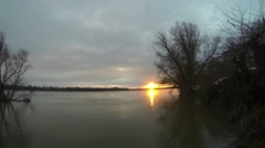 Winter sunset on the river. Stock Footage