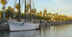 BARCELONA, SPAIN: Marina at Port Vell in Barcelona during sunset time Stock Footage