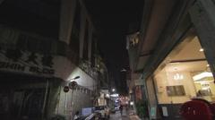 Wide angle - trendy hair salons Taipei lane Stock Footage