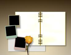 Stock Illustration of Open diary or photo album with vintage instant photos