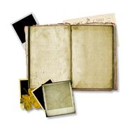 Open ancient book with instant photos - stock illustration