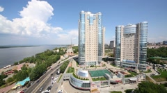 Apartment complex Ladya is located in heart of Samara city Stock Footage