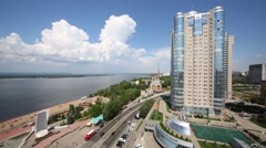 Apartment complex Ladya is located in center of Samara city Stock Footage