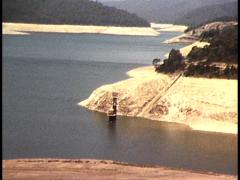 1982 DROUGHT: LOW WATER LEVELS AT UPPER YARRA RESERVOIR MELBOURNE, AUSTRALIA Stock Footage