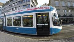 The famous Tram in the Old Town of Zurich in Switzerland, Europe - stock footage