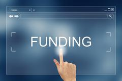 Hand press on funding button on website Stock Illustration