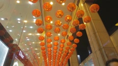 Tilt of red chinese new year lanterns Stock Footage