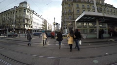 People walking in Old Town, Zurich in Switzerland, Europe. Stock Footage