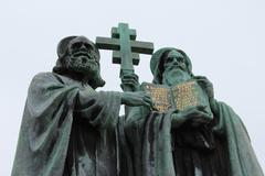 Statue of Saint Cyril and Methodius. - stock photo