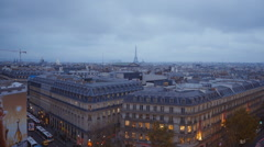 Aerial view of the city of Paris in the evening - stock footage