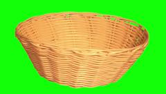 Basket for bread, fruit and vegetables Stock Footage
