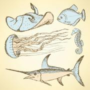 Sketch sea creatures in vintage style - stock illustration