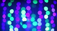 Bokeh of many colored lights at show in night club Stock Footage