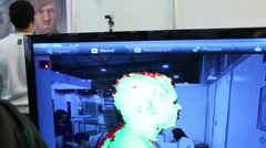 3D-scanner scans man head at Geek Picnic, European festival Stock Footage