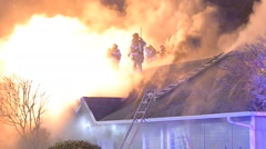 House fire lots of smoke and flames Stock Footage