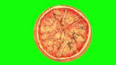 Pizza with bacon and marinated cornichons on wooden board 02 Stock Footage