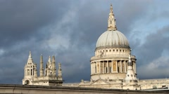 St Pauls Cathedral Dome and Clock Tower in London,UK. Stock Footage