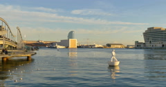 Port Vell in Barcelona during sunset time Stock Footage
