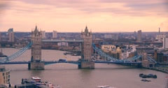 Tower Bridge at Day from High Angle | 4K ULTRA HD Timelapse Stock Footage