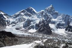 Mount Everest, Nuptse and the Khumbu Icefall in Nepal Stock Photos