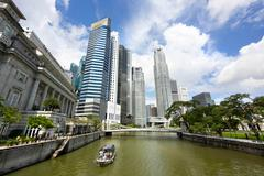 View of Singapore River and Downtown Singapore Stock Photos