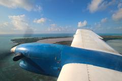 View through aircraft window Stock Photos