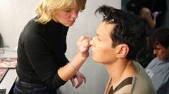 Makeup of dance group Bulavas before shooting Stock Footage