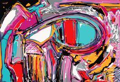 Original illustration of abstract art digital painting Stock Illustration