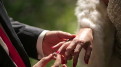 The groom and the bride dress each other wedding rings. Close up Stock Footage