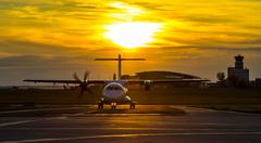 Propeller plane at sunset - stock photo