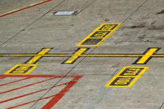 Marking on taxiway Stock Photos