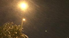 Night city Snow Rain  3 Stock Footage