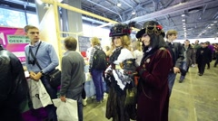 Cosplayers at festival Geek Picnic was held in pavilion of VVC Stock Footage