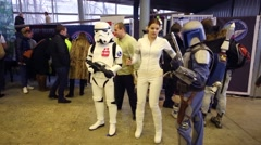 Cosplayers of Star wars at high-tech festival Geek Picnic Stock Footage